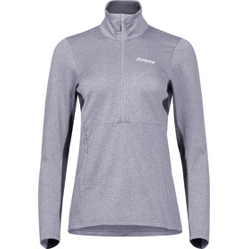 Bergans Fløyen Sweat-shirt en polaire avec demi-zip Femme, aluminium/solid dark grey/white